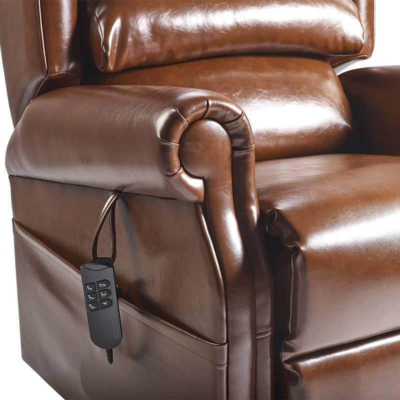 Olympia Riser Recliner Arm Close Up Oxford Earth