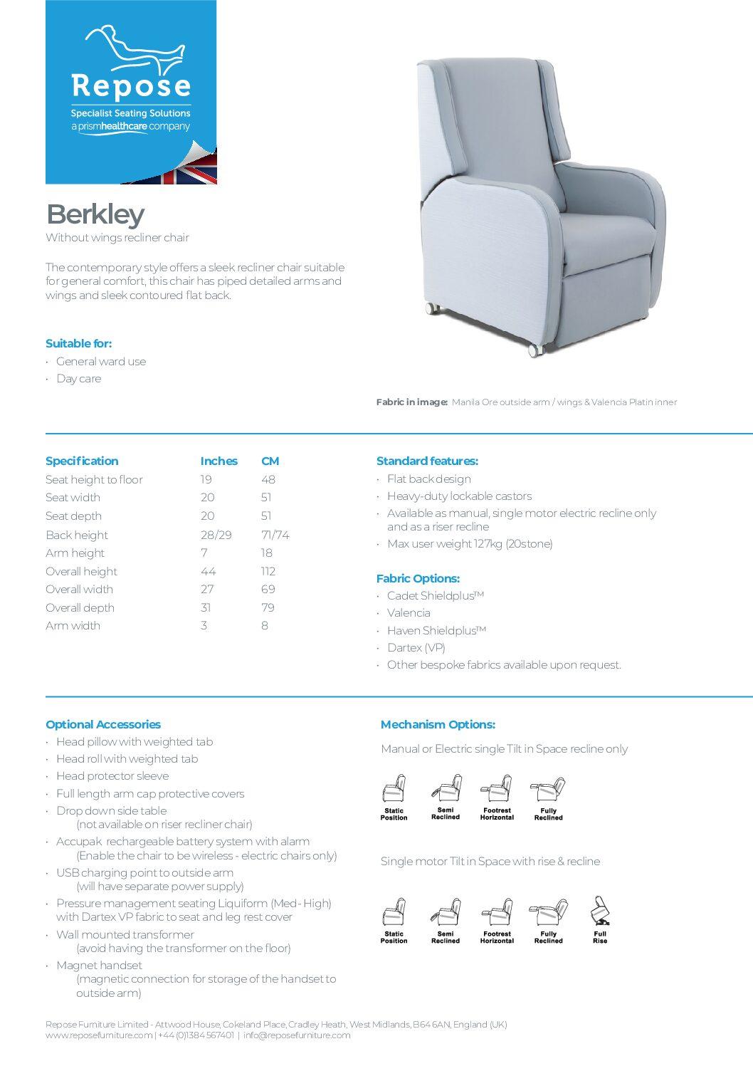 PDF specification Berkley v6 1 pdf Repose Furniture Downloads and Brochure Request