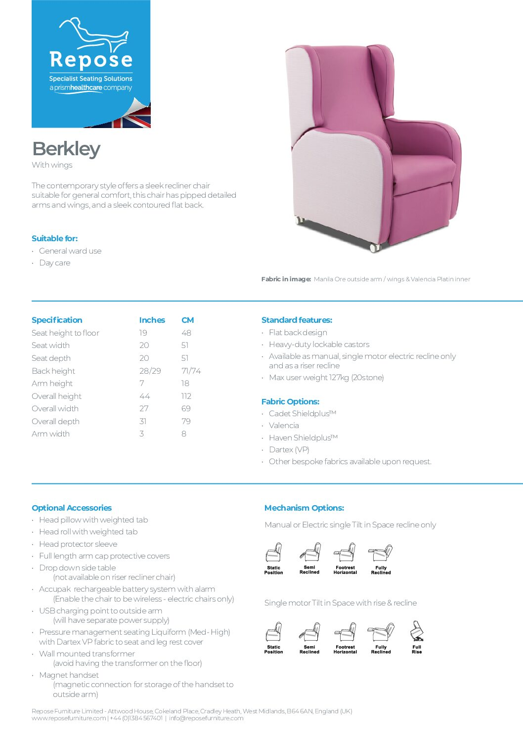PDF specification Berkley with wings v7 pdf Repose Furniture Downloads and Brochure Request