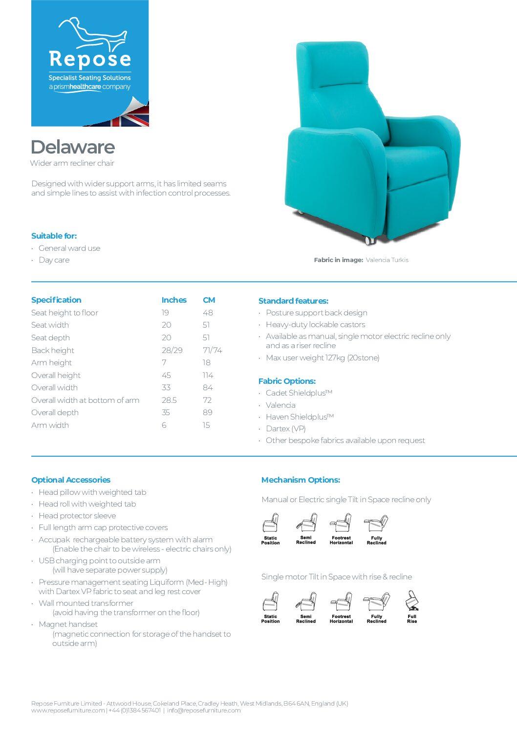 PDF specification Delaware v8 pdf Repose Furniture Downloads and Brochure Request