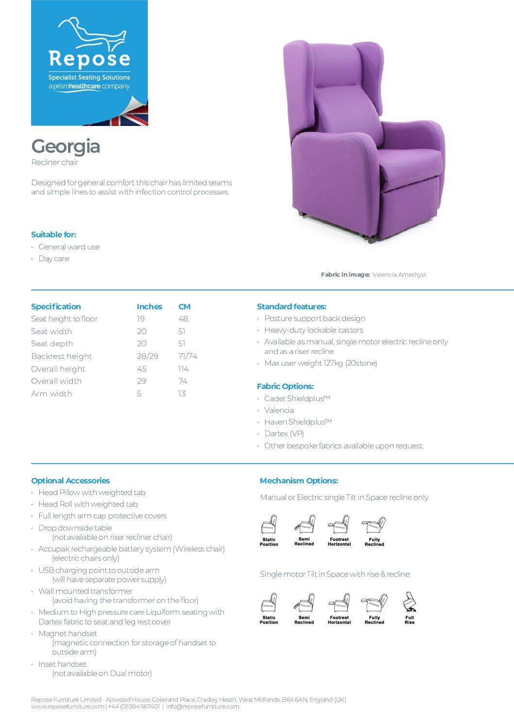 PDF specification Georga v8 pdf Repose Furniture Downloads and Brochure Request