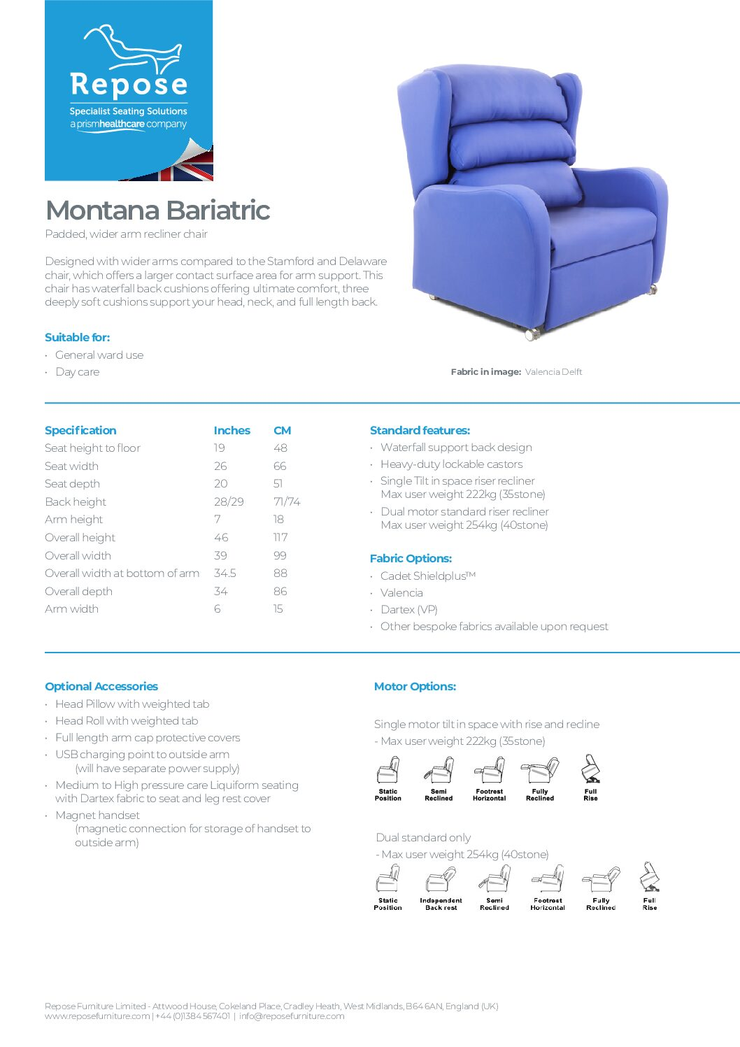 PDF specification Montana Bariatric v7 1 pdf Repose Furniture Downloads and Brochure Request