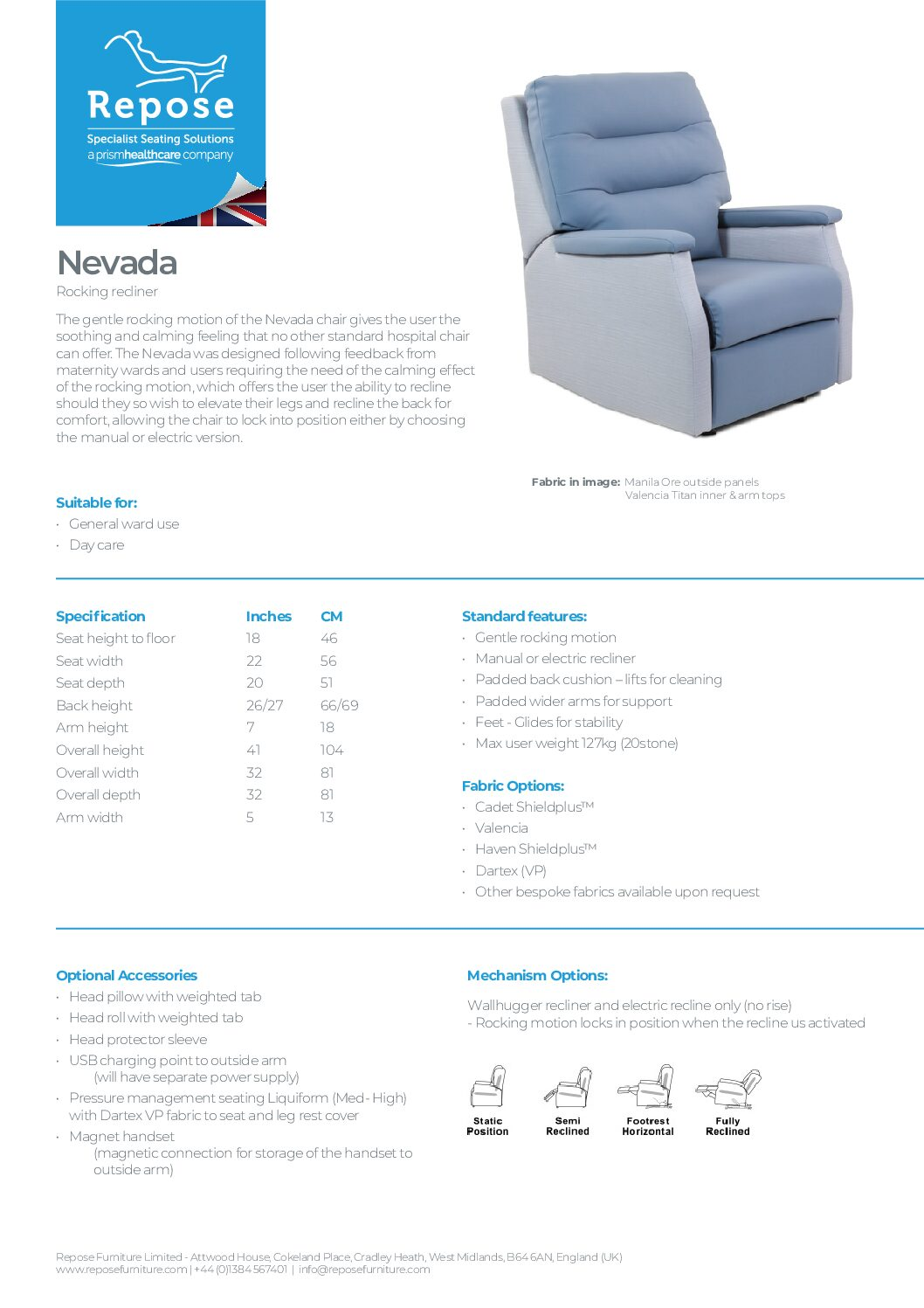 PDF specification Nevada v5 pdf Repose Furniture Downloads and Brochure Request