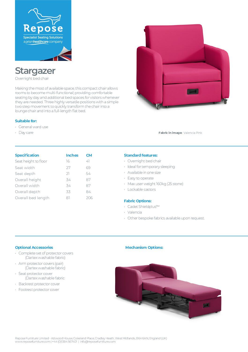 PDF specification Stargazer R5 pdf Repose Furniture Downloads and Brochure Request