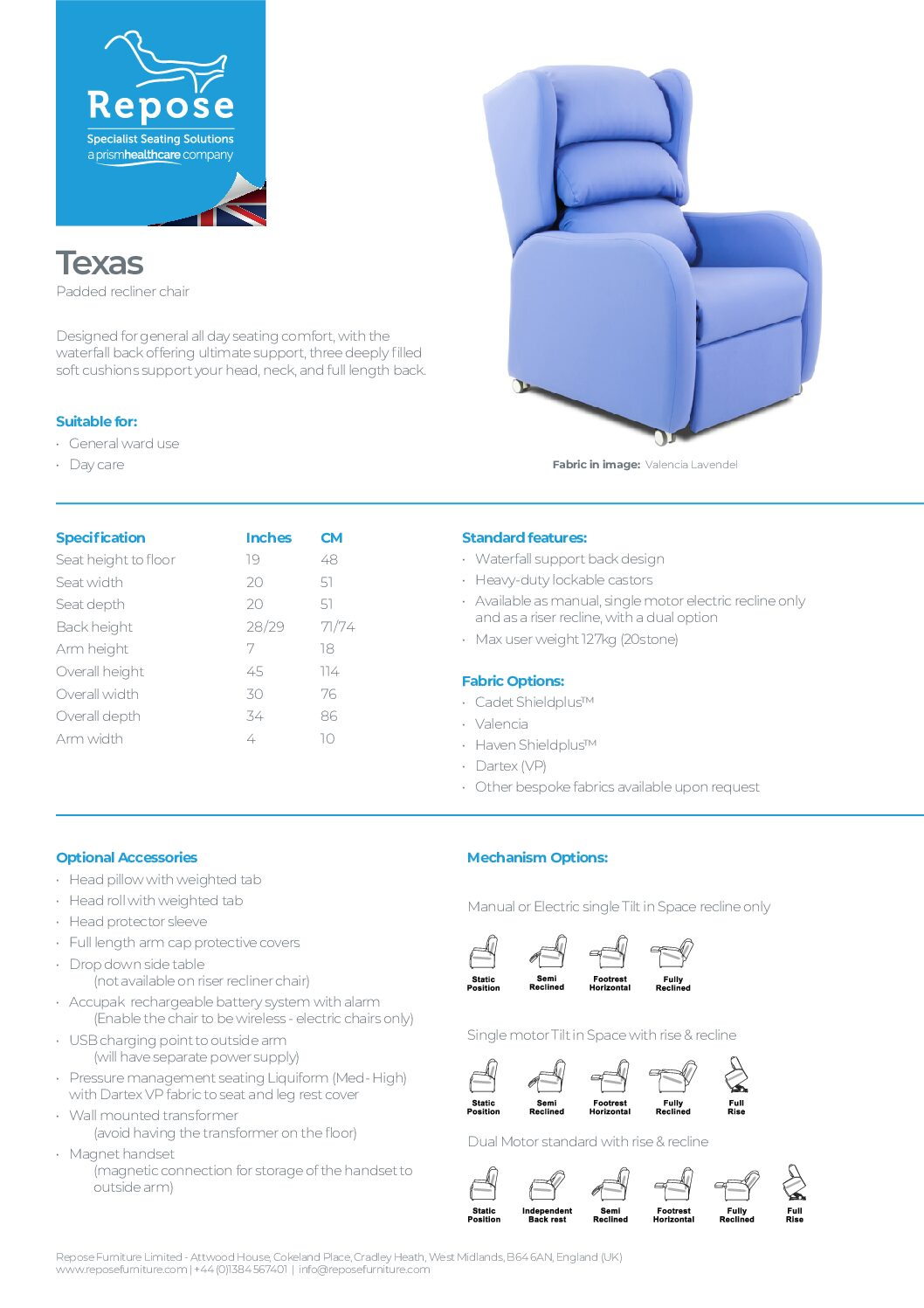 PDF specification Texas v10 pdf Repose Furniture Downloads and Brochure Request