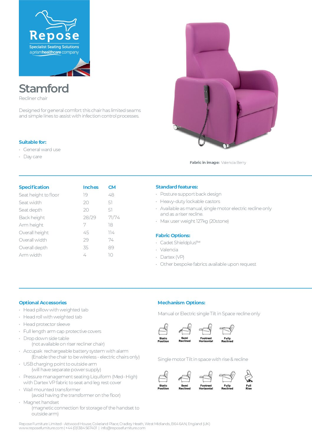 PDF specification Stamford v7 pdf Repose Furniture Downloads and Brochure Request