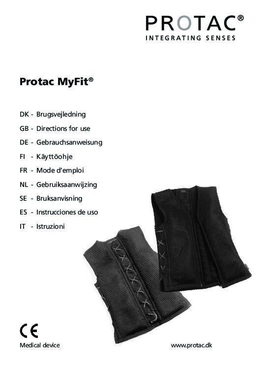 Protac MyFit User manual pdf Repose Furniture Protac MyFit® Vest – Chest size 56-61cm